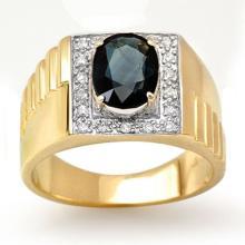 Genuine 2.65 ctw Blue Sapphire & Diamond Men's Ring 10K Yellow Gold - 13485-#45T8Z