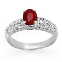Genuine 1.50 ctw Ruby & Diamond Ring 18K White Gold - 13369-#59K5T