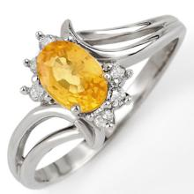 Genuine 0.70 ctw Yellow Sapphire & Diamond Ring 18K White Gold - 10645-#30A2N