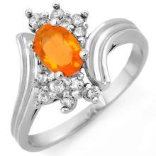 Natural 0.65 ctw Opal & Diamond Ring 10K White Gold - 10946-#26G3R