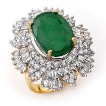 Genuine 11.65 ctw Emerald & Diamond Ring 14K Yellow Gold - 12999-#258F3M