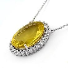 Genuine 32.0 ctw Lemon Topaz & Diamond Necklace 14K White Gold - 11050-#220V3A