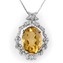 Natural 12.8 ctw Citrine & Diamond Necklace 14K White Gold - 10339-#97A8N