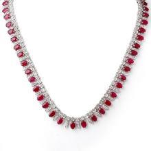 Genuine 41.0 ctw Ruby & Diamond Necklace 18K White Gold - 11716-#786H3W