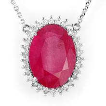 Genuine 19.25 ctw Ruby & Diamond Necklace 14K White Gold - 14186-#324T2Z