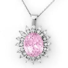 Natural 8.68 ctw Kunzite & Diamond Necklace 18K White Gold - 10345-#138W3K