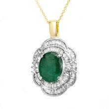 Genuine 4.60 ctw Emerald & Diamond Pendant 14K Yellow Gold - 14244-#106X2Y