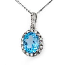 Natural 2.05 ctw Blue Topaz & Diamond Pendant 10K White Gold - 14011-#11W7K