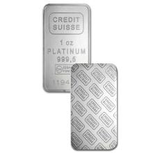 1oz Credit Suisse Platinum Bar in Assay - .9995 Fine Platinum
