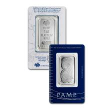 1oz Pamp Suisse Platinum Bar in Assay - .9995 Fine Platinum - REF#HJY8772