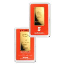 1oz Scotiabank Gold Bar in Assay - .9999 Fine Gold
