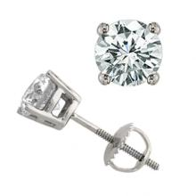 Natural 1.50 ctw Diamond Solitaire Stud Earrings 14K White Gold - 13046-#200P2X