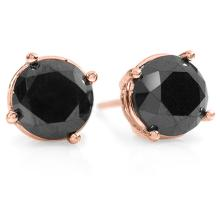 Natural 3.0 ctw Black Diamond Solitaire Stud Earrings 18K Rose Gold - 14154-#56F2M