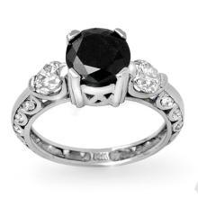 Natural 1.62 ctw Black & White Diamond Bridal Ring 18K White Gold - 11932-#93F7M