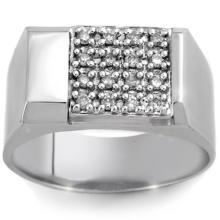 Genuine 0.50 ctw Diamond Men's Ring 10K White Gold - 10161-#52R9H