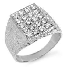 Natural 0.50 ctw Diamond Men's Ring 18K White Gold - 13262-#77R3H