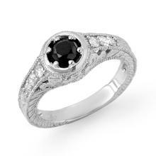 Genuine 0.80 ctw Black & White Diamond Bridal Ring 14K White Gold - 14069-#49A3N