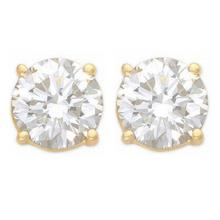 Natural 1.0 ctw Diamond Solitaire Stud Earrings 14K Yellow Gold - 12800-#100M2G