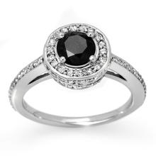 Natural 1.75 ctw Black & White Diamond Bridal Ring 14K White Gold - 11864-#80X3Y