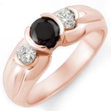 Genuine 0.85 ctw Black & White Diamond Ring 14K Rose Gold - 11625-#50P3X