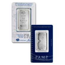 1 oz Pamp Suisse Platinum Bar .9995 Fine Platinum in Assay