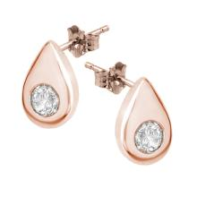 Natural 0.75 ctw Diamond Solitaire Stud Earrings 14K Rose Gold - 10750-#65H2W