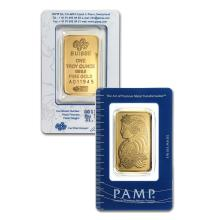 1oz PAMP Suisse Gold Bar .9999 Fine Gold in Assay