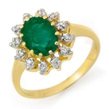 14K Yellow Gold Jewelry 1.46 ctw Emerald & Diamond Ring - SKU#U20Z9- 90284-14K