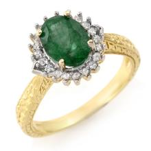 10K Yellow Gold Jewelry 2.35 ctw Emerald & Diamond Ring - SKU#U27W4- 90085- 10K