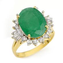 10K Yellow Gold Jewelry 5.98 ctw Emerald & Diamond Ring - SKU#U72L4- 90447- 10K