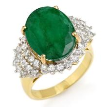 14K Yellow Gold Jewelry 7.56 ctw Emerald & Diamond Ring - SKU#U16R10- 90416-14K