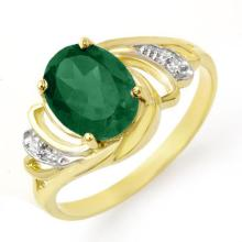 10K Yellow Gold Jewelry 2.14 ctw Emerald & Diamond Ring - SKU#U21X2- 99025- 10K