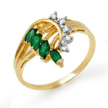 18K Yellow Gold Jewelry 0.55 ctw Emerald & Diamond Ring - SKU#U19U5- 90493- 18K