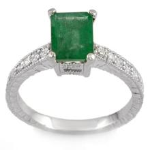 10K White Gold Jewelry 2.15 ctw Emerald & Diamond Ring - SKU#U22A4- 1902- 10K