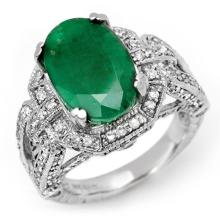 14K White Gold Jewelry 8.50 ctw Emerald & Diamond Ring - SKU#U14K10- 2098-14K