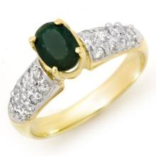 18K Yellow Gold Jewelry 1.50 ctw Emerald & Diamond Ring - SKU#U39A1- 90648- 18K