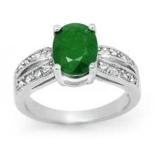14K White Gold Jewelry 2.92 ctw Emerald & Diamond Ring - SKU#U48X7- 99736-14K