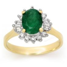 14K Yellow Gold Jewelry 1.18 ctw Emerald & Diamond Ring - SKU#U32A7- 99066-14K