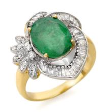 10K Yellow Gold Jewelry 4.2 ctw Emerald & Diamond Ring - SKU#U86N7- 90402- 10K