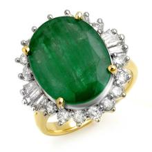 18K Yellow Gold Jewelry 10.7 ctw Emerald & Diamond Ring - SKU#U158L7- 90614- 18K