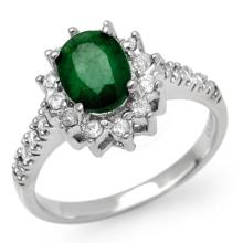10K White Gold Jewelry 1.95 ctw Emerald & Diamond Ring - SKU#U44X6- 90841- 10K