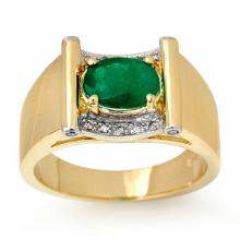 18K Yellow Gold Jewelry 1.83 ctw Emerald & Diamond Men's Ring - SKU#U64H8- 90826- 18K