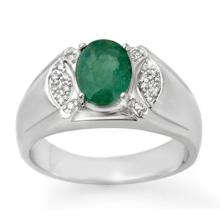 10K White Gold Jewelry 2.15 ctw Emerald & Diamond Men's Ring - SKU#U36M3- 90762- 10K