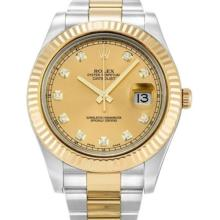 Pre-owned Excellent Condition Authentic Rolex Quickset Men's 18K/Stainless Steel DateJust Champagne Dial Watch - REF#-356R7H