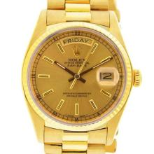 Pre-owned Excellent Condition Authentic Rolex Quickset Men's 18K Yellow Gold Day-Date Champagne Dial Watch - REF#-960Z2T