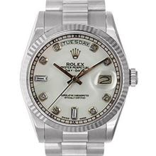Pre-owned Excellent Condition Authentic Rolex Quickset Men's 18K White Gold Day-Date White Dial Watch - REF#-980T8K