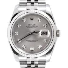 Pre-owned Excellent Condition Authentic Rolex Quickset Men's Stainless Steel DateJust Silver Dial Watch - REF#-280F8V