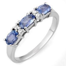 Genuine 1.33 ctw Blue Sapphire & Diamond Ring 18K White Gold - 11289 -#42F8M