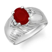 Natural 1.69 ctw Ruby & Diamond Anniversary Ring 10K White Gold - 13976 -#31G8R