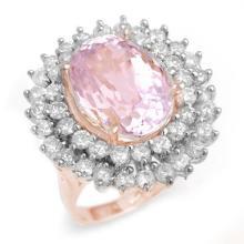 Natural 12.08 ctw Kunzite & Diamond Ring 14K Rose Gold - 14334 -#204F8M